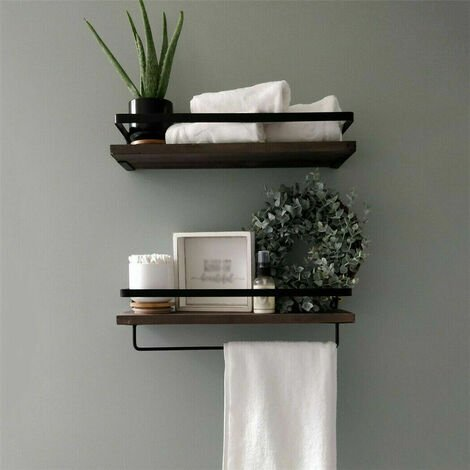 2 Large Rustic Floating Wall Shelf Bathroom Utility Decorative Rack with Towel Rod