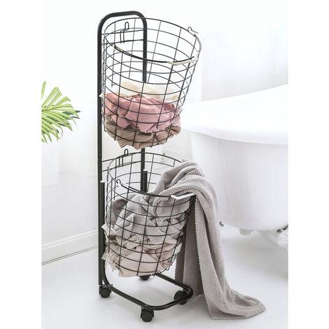 2 Laundry Basket Rolling Wheeled Cart Hamper Bin Washing Clothes Storage