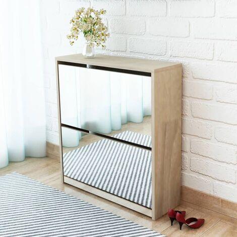 2-Layer Mirror 6 Pair Shoe Storage Cabinet by Ebern Designs - Brown
