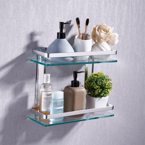 2 Layer Tempered Glass Shelves Bathroom Shower Shelf Wall Mounted Storage Holder
