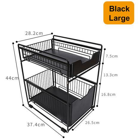 2 Layers Kitchen Storage Shelf Rack 44x37.4x28.2cm Black Multi-Functional Space Saving Organizer
