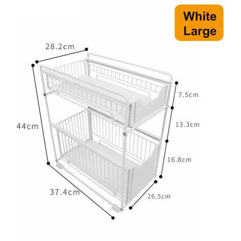 2 Layers Kitchen Storage Shelf Rack 44x37.4x28.2cm White Multi-Functional Space Saving Organizer
