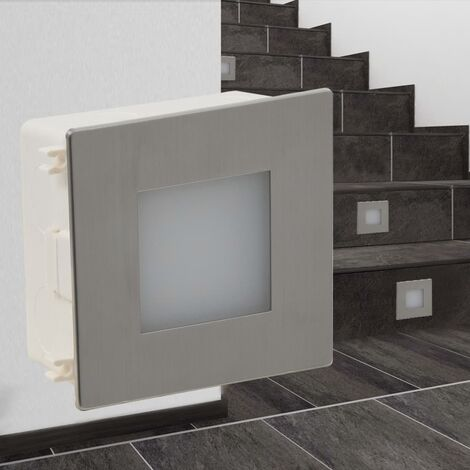 2 LED Recessed Stair Light 85 x 48 x 85 mm - Silver