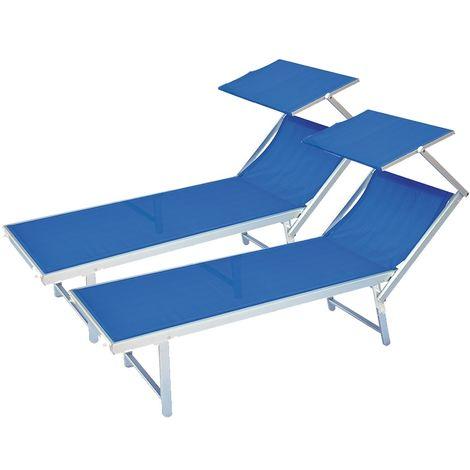 Sdraio E Lettini Prendisole.2 Lettini Prendisole Sdraio Alluminio Piscina Mare Spiaggia Giardino