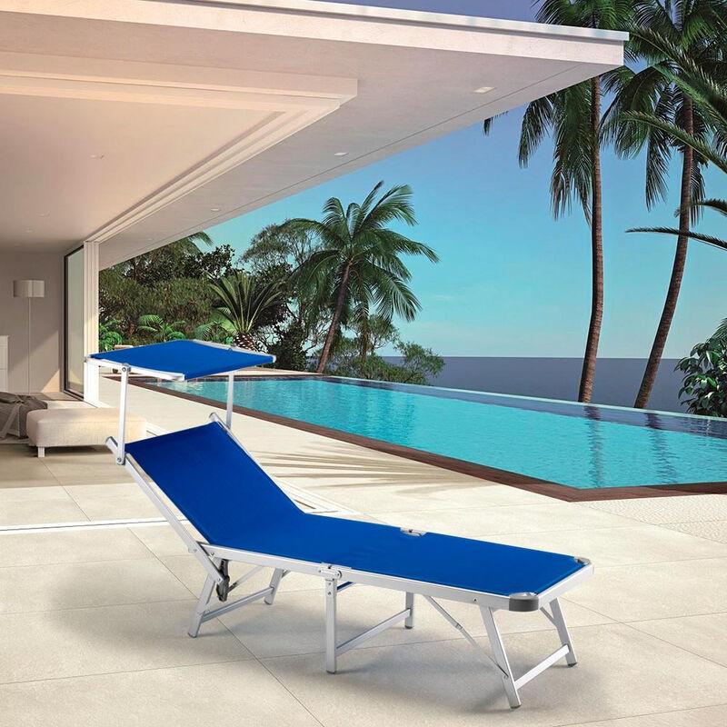 Sdraio Da Spiaggia Prezzi.2 Lettini Spiaggia Mare Pieghevoli In Alluminio Gabicce Blu