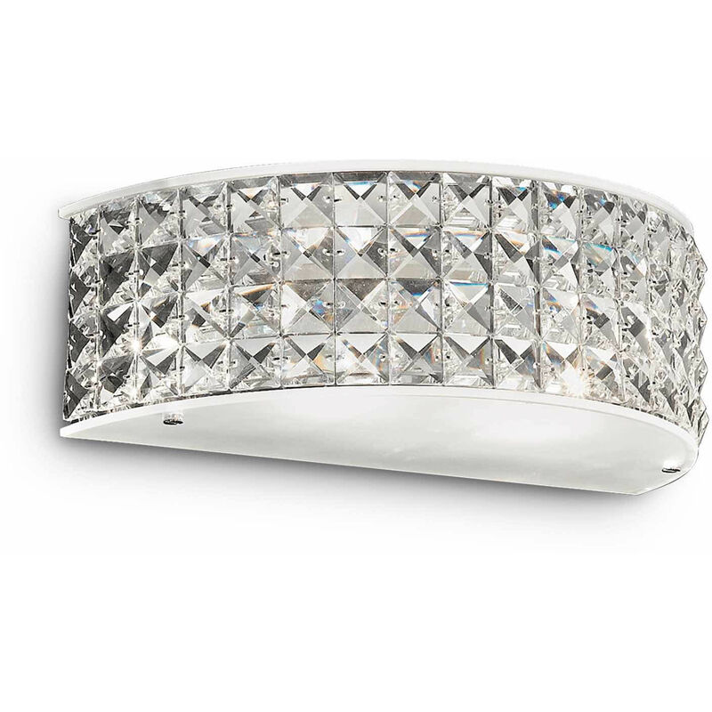 01-ideal Lux - 2-Licht verchromte ROMA Kristall Wandleuchte