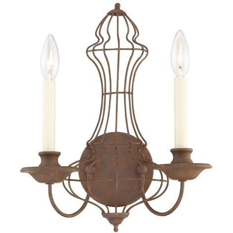 2 Light Wall In Rustic Antique Bronze By Washington Lighting