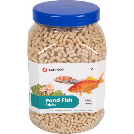 2 litres, nourriture poisson d'étang en sticks.