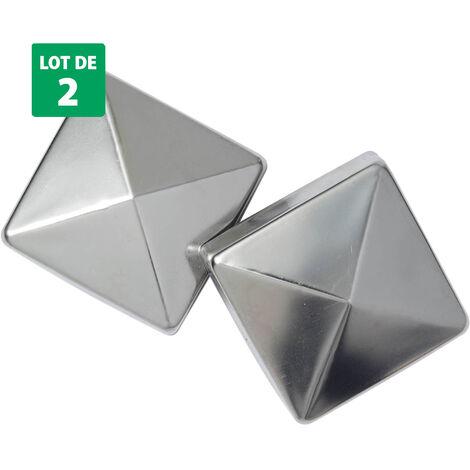 2 Lots de 2 pyramides en inox 7x7cm pour poteaux de jardin en bois - Forest-Style