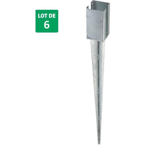 2 Lots de 3 supports à planter pour panneaux en acier galvanisé 7x7x70 cm - Forest-Style