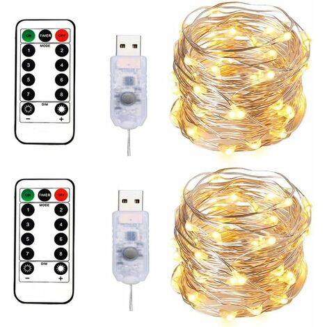 2 luces de cadena 100 LED 10M Cable plateado blanco cálido, enchufe USB con control remoto Luz estrellada para decoración navideña Fiesta de bodas - Blanco cálido