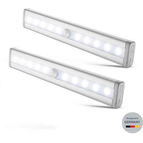 2 lumières LED réglettes veilleuses avec détecteur de mouvemen éclairage de sécurité armoire cuisine