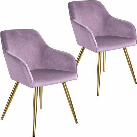 2 Marilyn Velvet-Look Chairs gold