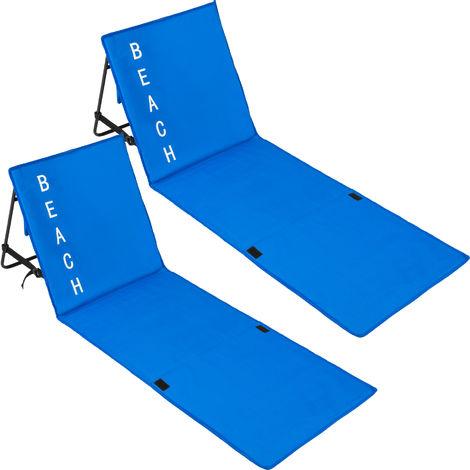 2 Matelas de plage Pliables avec 1 Dossier en Polyester 150 cm x 55 cm x 46 cm Vert