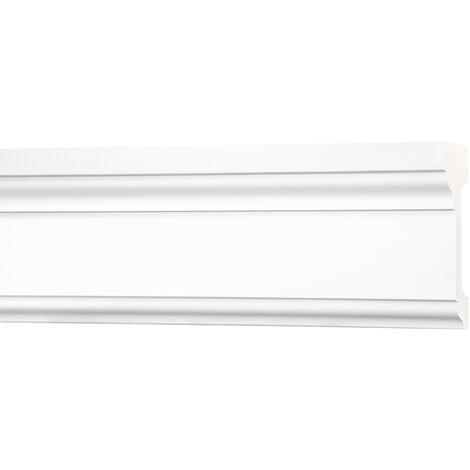 2 Meter Flachleiste 127x53mm - Stuckleiste aus PU glatt, stoßfest - Perfect AD367