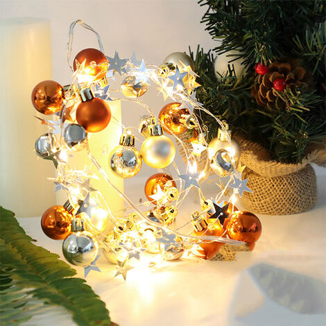 2 meters 20 lights LED string lights Christmas lights string Christmas bell decoration lights without battery (warm white)