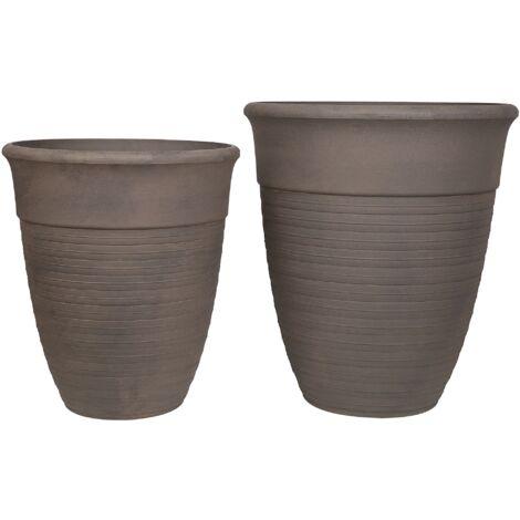 2 Modern Indoor Outdoor Plant Pot Set All-Weather Stone Mixture Grey Katalima