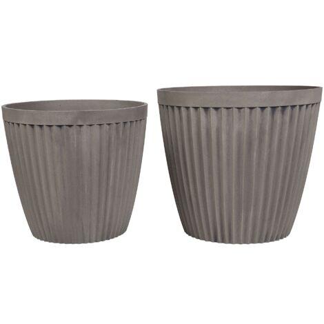 2 Modern Plant Pot Set Taupe Stone Mixture Round Indoor Outdoor Poka