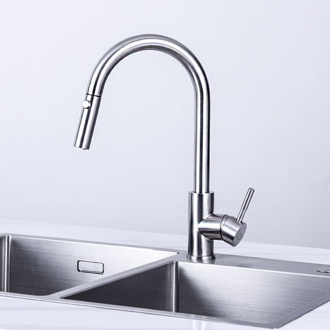 2 Modes Stainless Steel Single Handle Pull Out Spout Kitchen Sink Kitchen Tap Monobloc Mixer Pull Down Kitchen Sink Tap