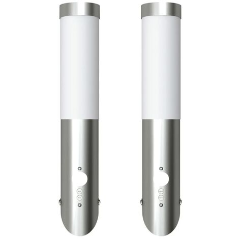 2 Motion Detector Stainless Steel Wall Lights