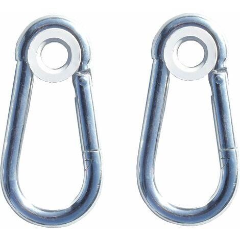2 mousquetons métal pour portique métal