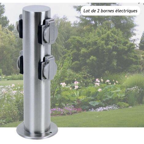 2 Multiprises Bornes Rondes 4 Prises Électriques Pour Jardin Et Extérieur - Argent