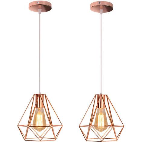 2 Pack 20cm Modern Ceiling Lamp Contemporary Chandelier Retro Pendant Light Diamond Hanging Light Rose Gold Metal Iron Lamp Shade