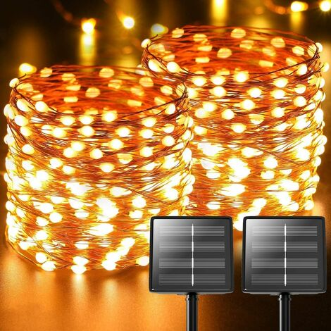 2-Pack 480 LED Solar Fairy String Lights Outdoor, Total 170ft Twinkle String Lights Porch Garden Decor, Waterproof Solar Rope Lights Starlight Decorative Copper Wire Light for Backyard Patio