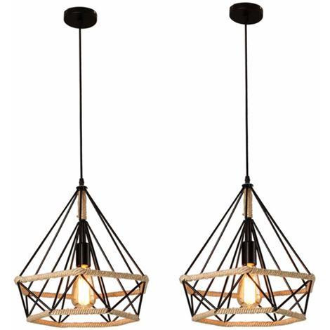 2 Pack Antique Industrial Ceiling Lamp Hemp Rope Pendant Light Creative Drop Lamp Diamond Cage Shape 25cm Chandelier for Cafe Bedroom Indoor Decoration Black