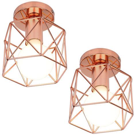 2 Pack Antique Retro Chandelier Rose Gold Creative Cube Shape Ceiling Light Industrial Ceiling Lamp E27 Metal Chandelier
