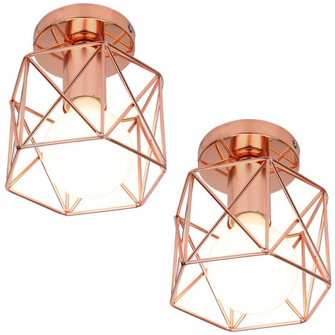 2 pack Antique Retro Chandelier Rose Gold Creative Cube Shape Ceiling Light Industrial Ceiling Lamp Metal Chandelier E27