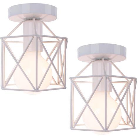 2 pack Antique Retro Chandelier White Creative Cube Shape Ceiling Light Industrial Ceiling Lamp Metal Chandelier E27