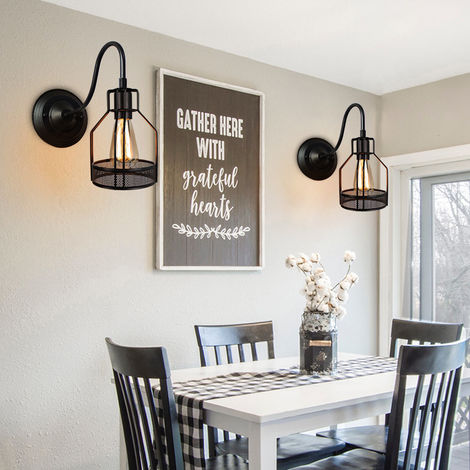 2 Pack Ceiling Pendant Light Shade Retro Industrial Style Chandelier Lamp Black Metal Vintage Indoor Bar Club Ceiling Lampshade Lights Fixture