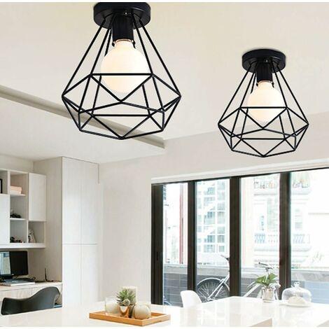 2 Pack E27 Industrial Ceiling Light Metal Cage Black Vintage Pendant Light Diamond Shape Retro Chandelier Light Fixture