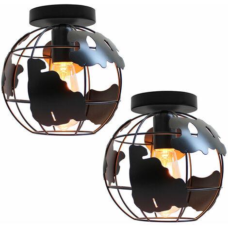2 pack Globe Map Art Ceiling Light Industrial Vintage Chandelier Iron Metal Cage Pendant Light E27 for Home Restaurant Bedroom Office (Black)