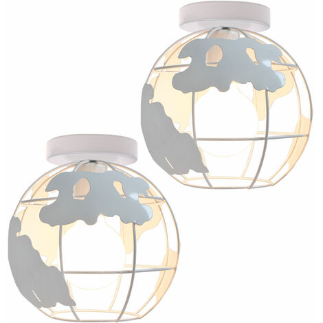2 pack Globe Map Art Ceiling Light Industrial Vintage Chandelier Iron Metal Cage Pendant Light E27 for Home Restaurant Bedroom Office (White)