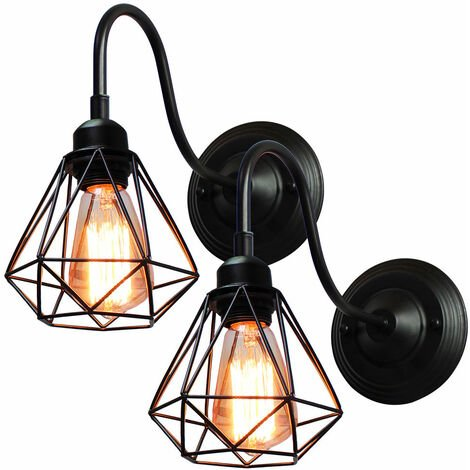 2 Pack Industrial Creative Wall Lamp (Black) Cage Vintage Wall Light Retro Diamond Wall Sconce