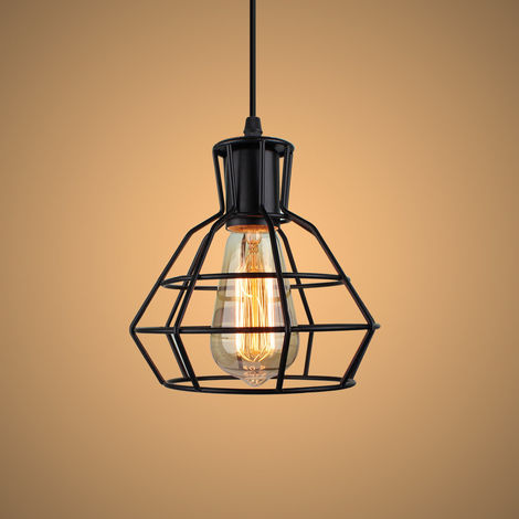 2 Pack Industrial Drop light Metal Lampshade Art Deco Hanging Pendant Light Wire Adjustable Hanging Ceiling Light Fixture for Loft Bar and Kitchen Cafe Bedroom Black