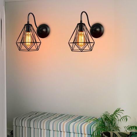 2 Pack Industrial Drop light Retro Chandelier Diamond Lamp Shade Metal Pendant Light Creative Ceiling Light E27 Bulb Black Finish
