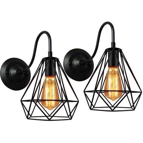 2 Pack Industrial Droplight Retro Chandelier Diamond Lamp Shade Metal Pendant Light Creative Ceiling Light E27 Bulb Black Finish
