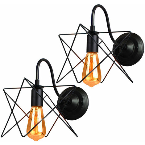 2 Pack Industrial Iron Pendant Light Black Creative Cage Ceiling Light Retro Ceiling Lamp, E27 Socket