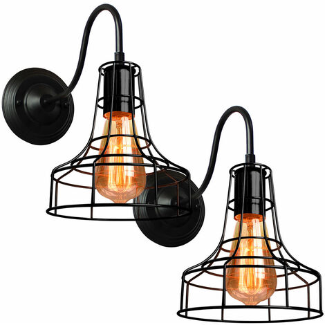 2 Pack Industrial Vintage Ceiling Lighting Industrial Antique Metal Ceiling Lamp Hanging Light E27 60W for Living Dining Room Bar Cafeteria Restaurant(Black)