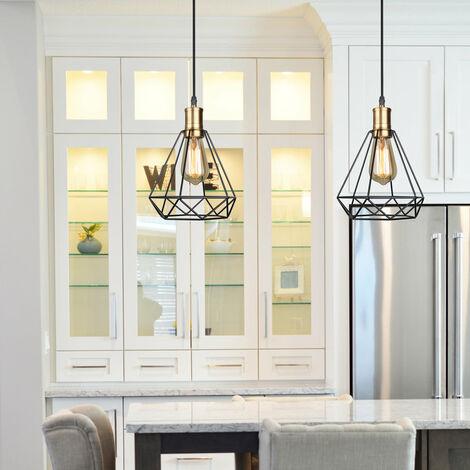 2 Pack Industrial Vintage Pendant Light Modern Diamond Chandelier Rustic Metal Cage Lamp for Loft Cafe Dining Indoor Decoration Black E27