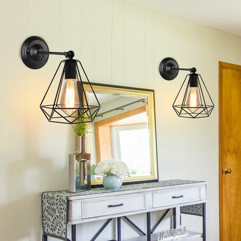 2 Pack Industrial Wall Sconce Rustic Antique Wall Light Diamond Shape Cage Vintage Metal Retro Wall Lamp for Bedroom Loft Bar Gazebo (No Bulb)