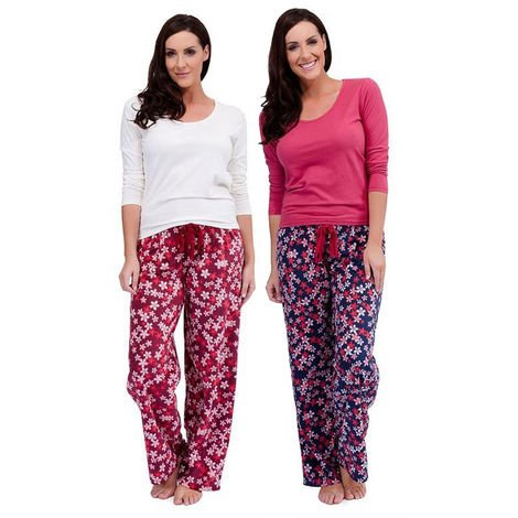 2 Pack Ladies Tom Franks Floral Print Winter Long Pyjama pajama Sleepwear