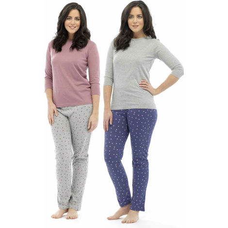 2 Pack Ladies Tom Franks Star Print Polycotton Long Pyjama Lounge Wear Sleepwear