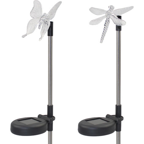2 Pack LED Solar Garden Stake Light Multi Color-Changing Butterfly