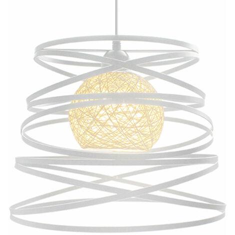 2 Pack Lustre Suspension Créatif Industriel Lampe Abat-jour Métal 30cm E27 pour Salon Cuisine Chambre Bar Blanc