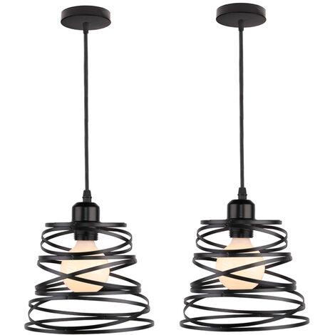 2 Pack Lustre Suspension Créatif Industriel Plafonnier Abat-jour Métal E27 pour Salon Cuisine Chambre Bar Noir - 20cm