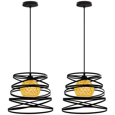 2 Pack Lustre Suspension Créatif Industriel Plafonnier Abat-jour Métal E27 pour Salon Cuisine Chambre Bar Noir - 30cm